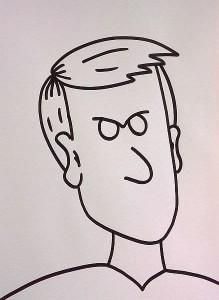 wütendes Gesicht zeichnen - obere Augenlieder stossen an