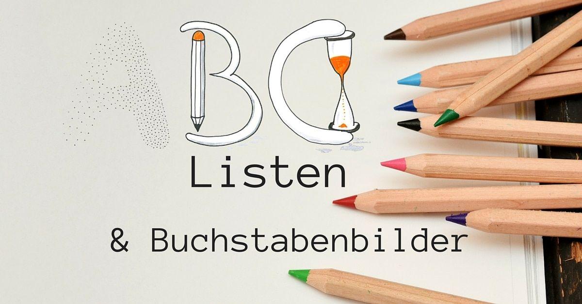ABC-Liste und Buchstabenbilder