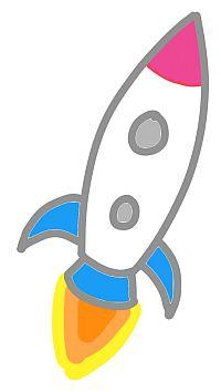 Beim Flipchart Zeichnen solltest du einen Eye-Catcher nutzen, z.B. eine Rakete als Symbol für Energie und Fortschritt