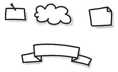 Beispiele für Textrahmen Pin Wolke,Eselsohr, Banner