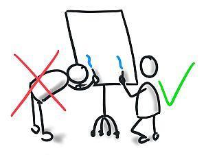 Wichtig für deine Flipchart Präsentation: Knie nieder - nicht bücken
