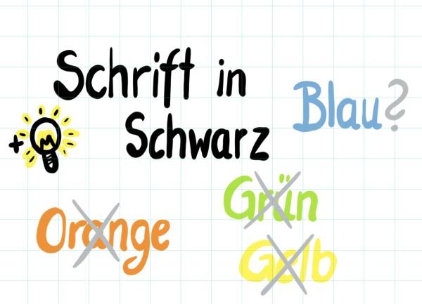 Flipchart zeichnen schwarze Schrift